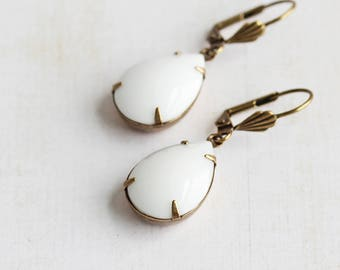 White Drop Earrings, Rhinestone Teardrop Earrings on Antiqued Brass Hooks, Opaque White Earrings, Everyday Jewelry (Clip On Available)