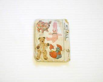 Vintage 1941 McCall Stuffed Toy Animal Pattern Pig Bear Bunny