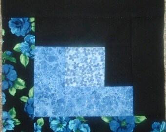 Last Set of 18 Presewn Quilt Blocks Log Cabins Vibrant Blue Florals 8 1/4 inches