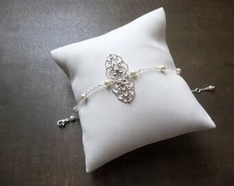 Anaïs - With swarovski pearls, Bracelet wedding Bracelet Pearl bridal Bracelet, Retro, Vintage bracelet, Bohemian, Party, Gatsby, Art deco