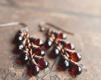 a m o r // Spessartine Mozambique Garnet Drop Earrings // Copper Earrings