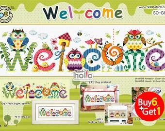 SO-G64  Welcome,  sodastitch cross stitch chart