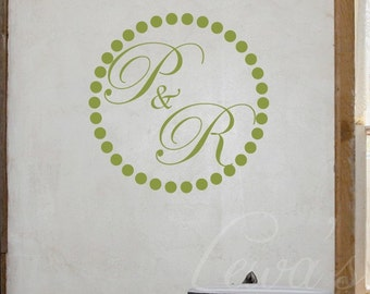 Dotted Circle with Initials Monogram Wall Decal