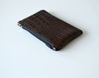 Porte-monnaie en simili cuir croco marron cuivré