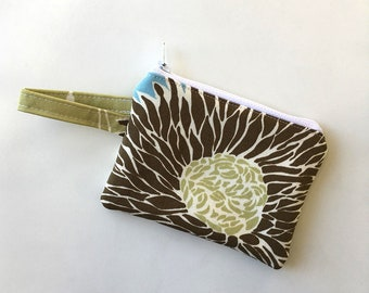 pocket wallet,Mums zipper pouch, Minimalist, earbud case, Change purse, cash wallet mini zipper pouch, double sized padded wallet,amy butler