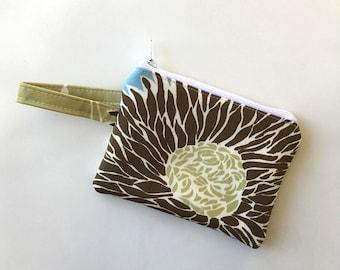 pocket wallet,Mums zipper pouch, Minimalist, earbud case, Change purse, cash wallet mini zipper pouch, double sized padded wallet,amy butler