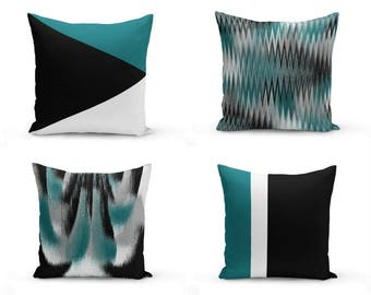 Teal black Pillow Covers, Decorative Pillow Covers, Home Decor, Throw Pillow Cover, Teal Black White Grey