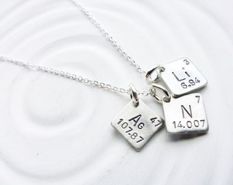 itty bitty jewelry periodic table element necklace hand stamped personalized jewelry spell - Au Pendant Periodic Table