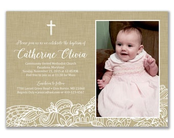 Fall Baptism Invitation / Photo Invitation / Linen Rustic Printable Baptism Invitation