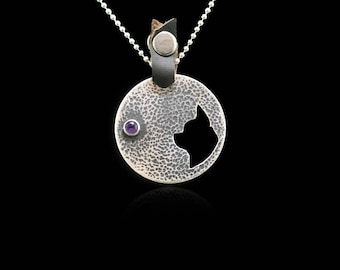 Sterling Silver Chihuahua necklace, Chihuahua Pendant, Chihuahua Gift, Amethyst Pendant, Ruby Pendant, Dog Pendant, Silver Chihuahua