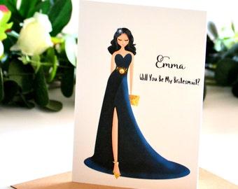 Be My Bridesmaid Proposal Bridal Party Gifts, Bridesmaid Gifts, Matron of Honour, Bridesmaid Greeting Card,  Maid of Honour, Navy Wedding