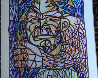 Abstract original handmade Bigfoot drawing by Charles State  cryptozoology picasso warhol