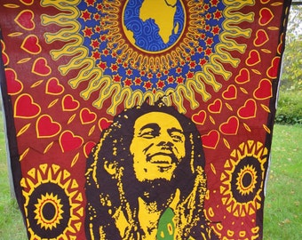 One Love Bob Marley Cotton Tapestry Earth Tone Boho Hippie Dorm Room Decoration Wall Hanging