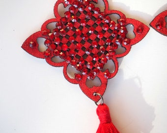 1 pendant, rubber and Rhinestones, Christmas, red, 9x5cm charm