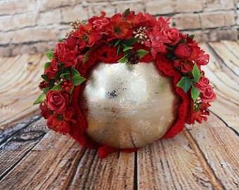 Floral bonnet - Red