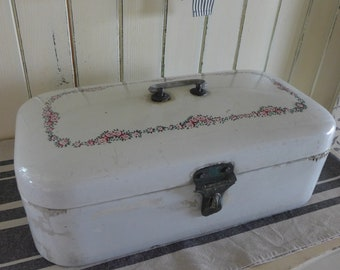 breadbox, container for bread white, a large metal box, box, container, flowers