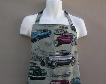 Mens Apron - Alexander Henry Chopped + Channeled Hot Rod Fabric