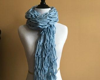 Tweed Blue Knit Scarf