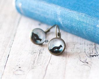 Black Fox Earrings. Fox Silhouette Earrings. Black Fox in the Moonlight Earrings. Fox Stud Earrings. Woodland Earrings. Halloween Earrings.