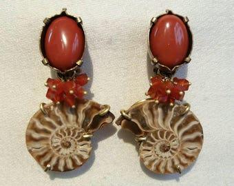 COEUR DE LION boucles d'oreilles clips en pierres naturelles.