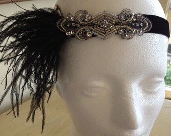 Black 1920s headband black ostrich feathers Silver great gatsby headpiece flapper dress beaded fascinator 1920s headband, headpiece, Stretch