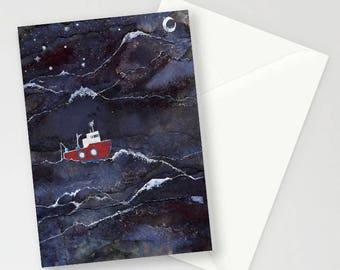 Night Fishing A6 Greetings card