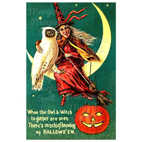 Vintage Halloween Owl & Witch Royalty Free Clipart