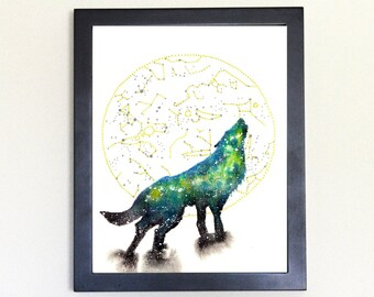 Wolf Spirit Animal Art Print Watercolor 8x10