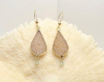 FLASH SALE Tan Druzy Earrings, Aqua Chalcedony, Druzy Jewelry, Gemstone Jewelry, Drusy Earrings, Gemstone Earrings