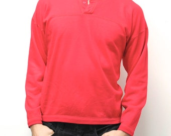 twin peaks HENLEY NECK solid red color SWEATSHIRT made in usa