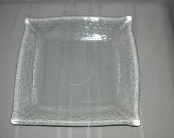 Heavy glass platter.