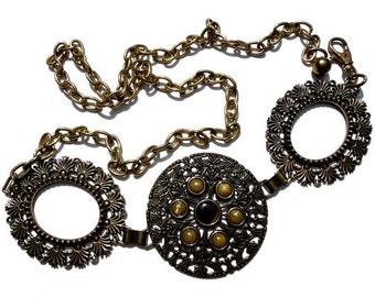 VINTAGE: 1980's - Chicos Metal Linked Belt - Metal Belt - Silver Metal Belt - (19-A2-00004884)