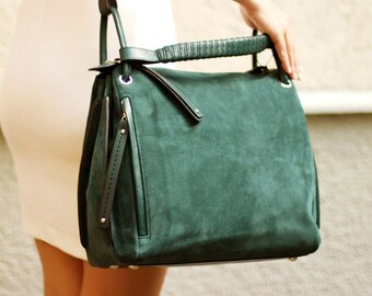 Free shipping! Green bag, green leather bag, green suede bag, green tote, suede tote, green crossbody, business bag, suede handbag