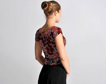 CARMEN red flowers crop top, XS-S