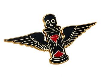 Time Flies Hourglass enamel pin. Tempus Fugit skull lapel pin.
