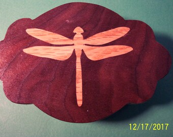 Wooden Dragonfly Jewelry Box   ---  Walnut