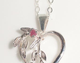 Stamped Markd 925 Dainty Sterling Silver HEART Pendant Chain Necklace