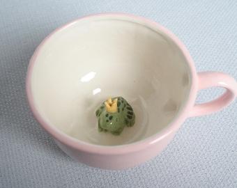 Mug ceramic light pink tea cup with frog - tiled prince charming animal figurine miniature surprise