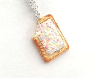 Pop Tart Necklace. 90s Necklace. Available on Keyring, Clasp, Lapel Pin. 90s theme. Birthday Necklace. Toaster Pastry Pendant. Planner Charm