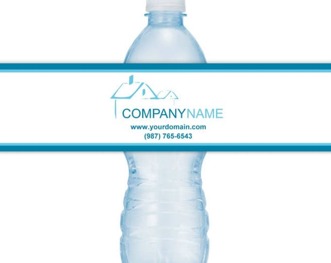 CUSTOM Printable Logo Water Bottle Labels, We CUSTOMIZE for you, Your Logo, Your Info, you print, you cut, DIY water bottle labels