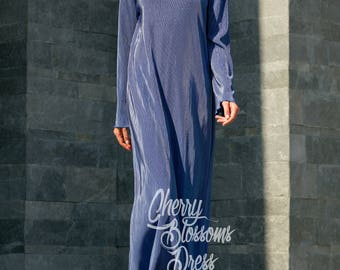 Blue Maxi Dress with Long Sleeves – Loose Fit Dress in Sizes XS to 4XL, 016.227