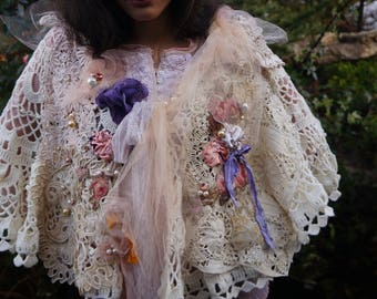 RESERVED Violet and peaches  shawl Romantic caplet Bohemian Hand beaded Shabby chic cape Vintage and antique lace Alternative wedding cape
