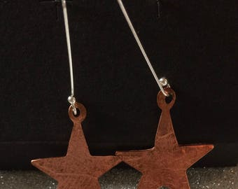 Starfish earrings: Copper and silver dangle
