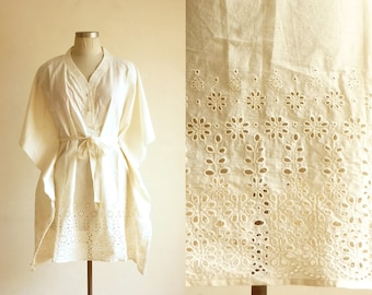 Ivory eyelet embroidered caftan in organic cotton.Summer Dress, Maternity dress, Nursing tunic, Feeding top, photo prop, wedding dress, robe