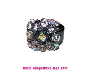Crystal Embellished Hematite Ring