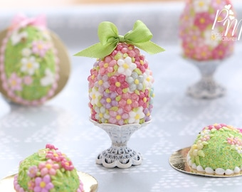 Spring Blossom Easter Egg (Green Bow) on Shabby Chic Stand (OOAK) - Miniature Food in 12th Scale for Dollhouse