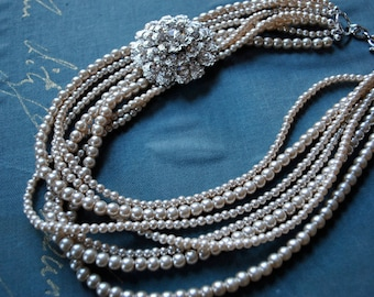 Champagne Pearls with Brooch Statement Necklace-made to order