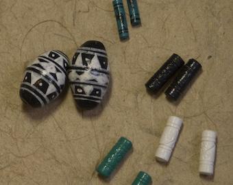 Lot of Peruvian hand-painted ceramic beads, matched sets, destash