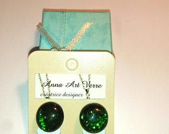 Green aventurine fused glass fusing and glass clip earrings