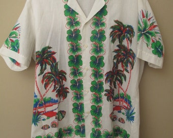 Vintage Guadeloupe mens button down shirt by Jaques Rollet